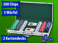 Grand Straight Royale Alu-Poker-Koffer mit 300 11,5-g Chips,2 Sets Karten,5 Würfel